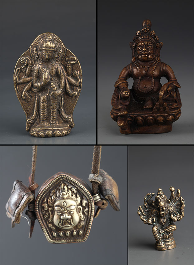 A GROUP FOUR SMALL BRONZE TIBETAN ITEMS