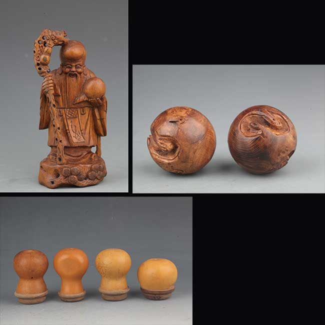 GROUP OF THREE WOOD DECORATION