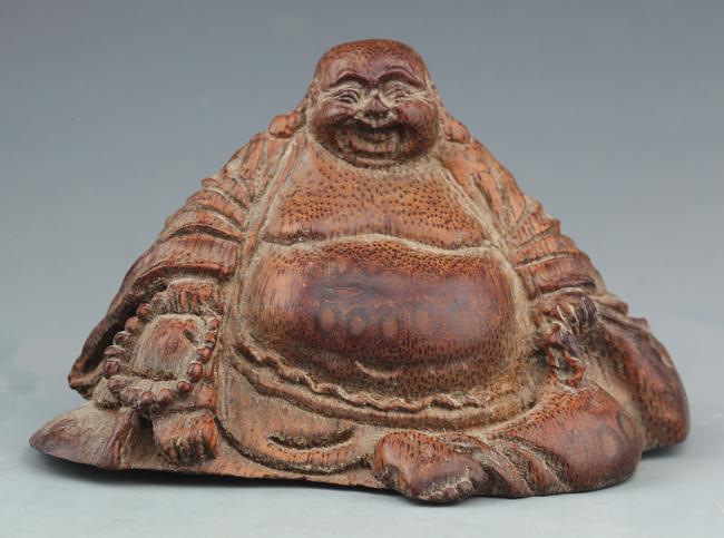 A CARVED BAMBOO IN FIGURE OF MAITREYA BUDDHA