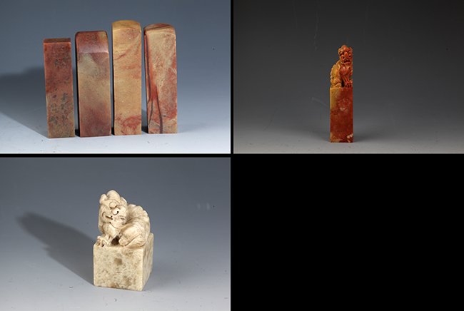 GROUP OF THREE FINELY CARVED SOAPSTONE SEAL