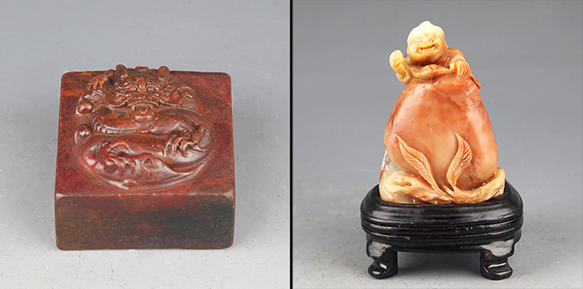 GROUP OF TWO CARVED SOAPSTONE DECORATION