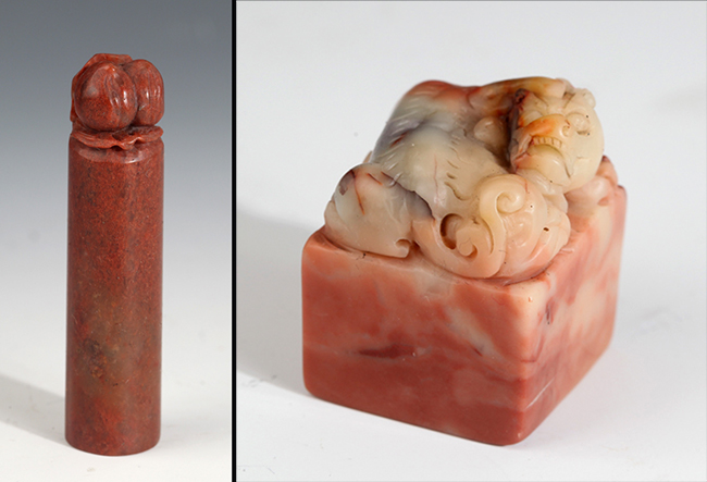 GROUP OF TWO FINELY CARVED SOAPSTONE SEAL