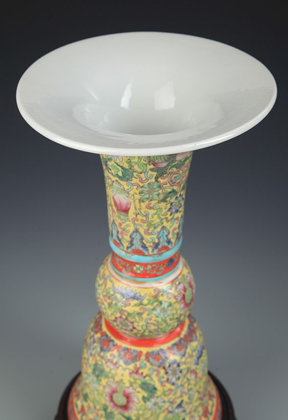 A Faience Color Tall Fu Flower Jar
