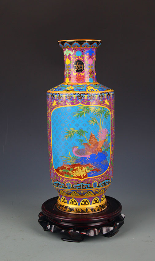A Faience Color Bird Painting Porcelain Vase