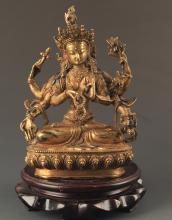 A BRONZE MANJUSRI BUDDHA FIGURE