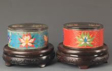 PAIR OF BRONZE CLOISONNE ENAMEL MAKE UP BOX