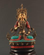 A BRONZE VAJRASATTVA BUDDHA FIGURE