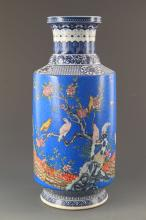 BLUE GROUND FAIENCE COLOR FLOWER AND BIRD WOODEN CLUB STYLE VASE