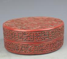 A FINELY CARVED LACQUER BOX WITH COVER