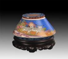 A FINE FAIENCE COLOR TEA JAR