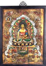 A FINE WOODN AKSHOBHYA BUDDHA PANEL