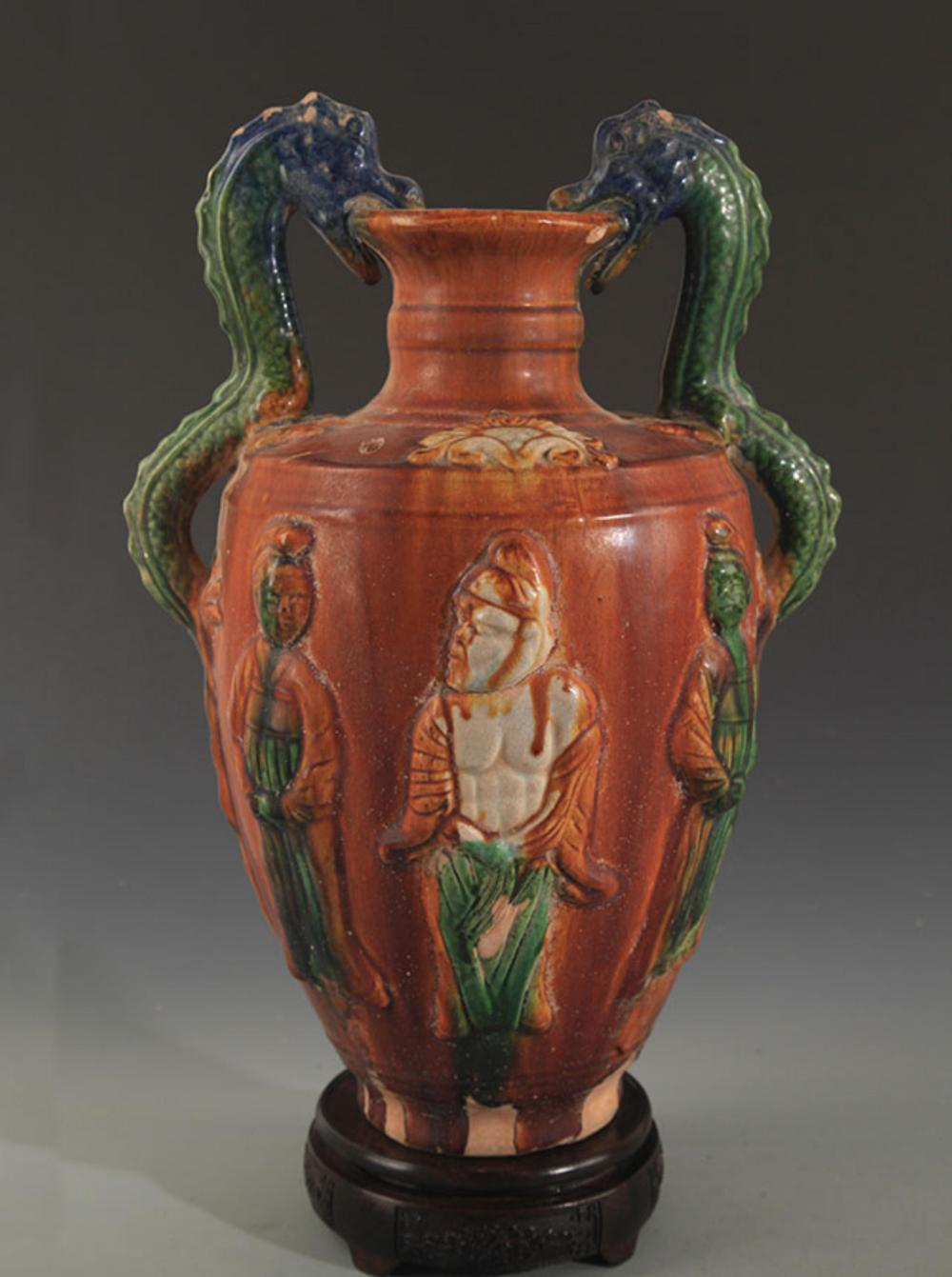 A SAN CAI COLOR DOUBLE DRAGON HANDLE VASE