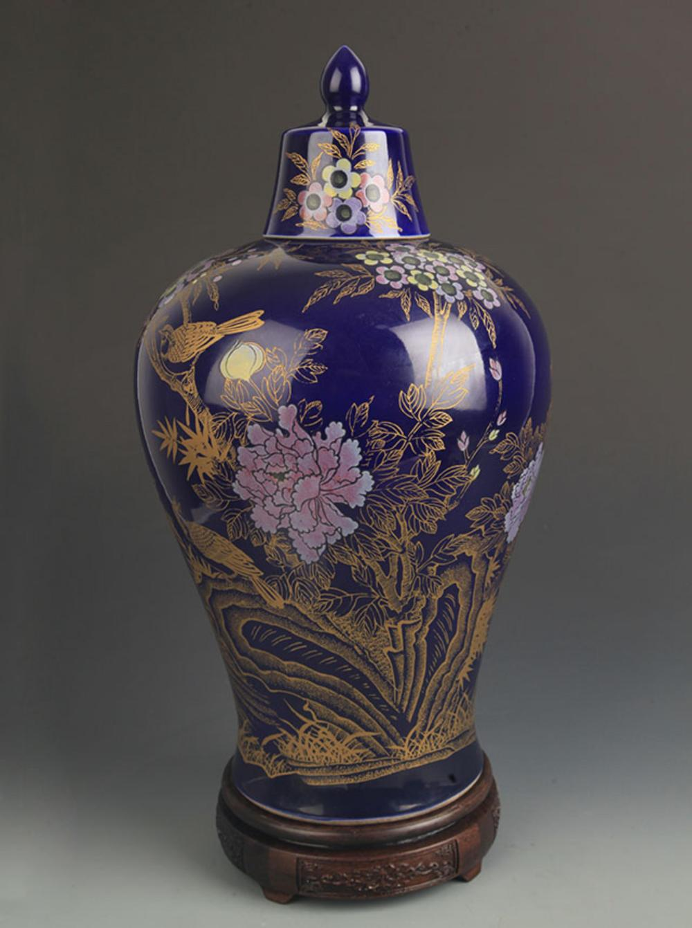 A LARGE DARK BLUE GLAZE GILT BIRD PAINTED MEI STYLE VASE