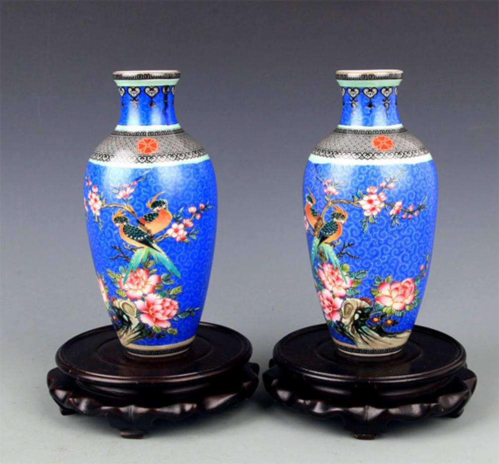 PAIR OF FAIENCE COLOR FLOWER PAINTED PORCELAIN VASE