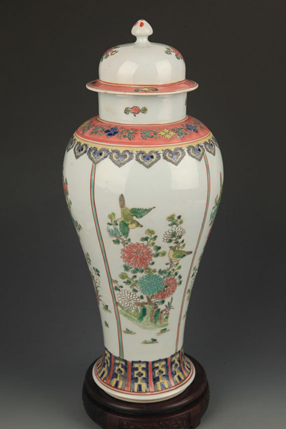 A FAMILLE ROSE FLOWER AND BIRD GENERAL JAR