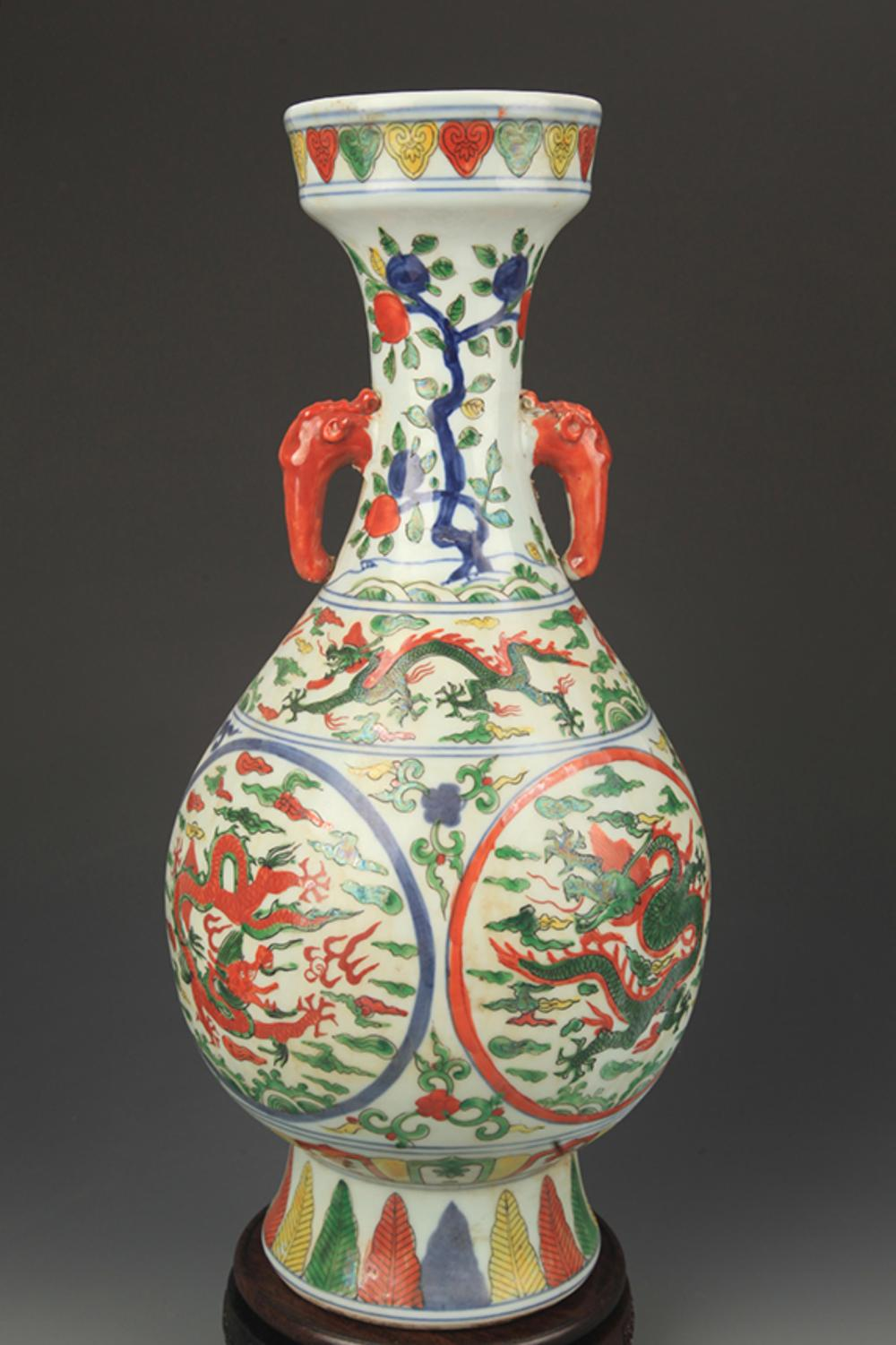 DOU CAI DRAGON PAINTED ELEPHANT EAR PLATE TOP VASE