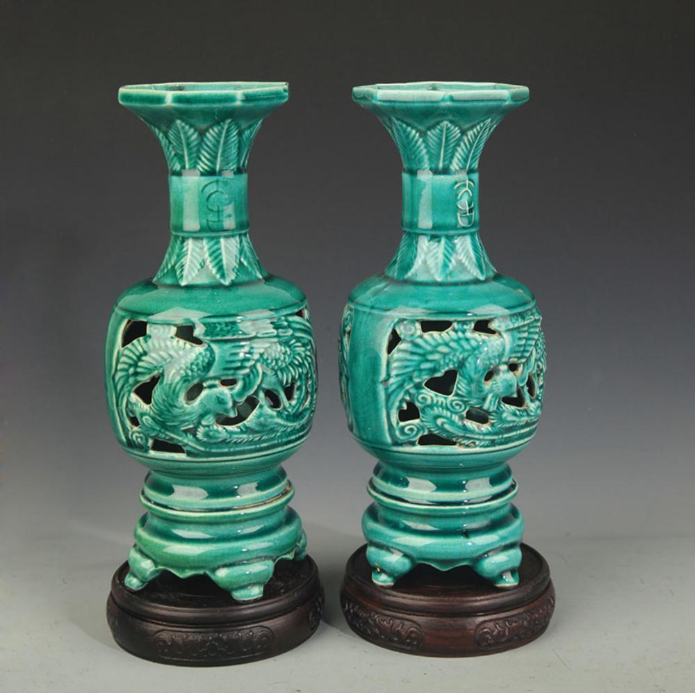 PAIR OF HALLOW MADE WIDE TOP PORCELAIN VASE