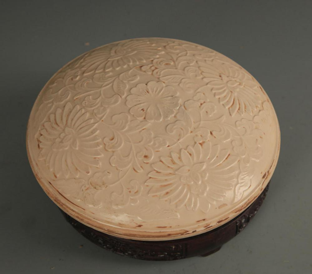 DING KILN FLOWER CARVING PORCELAIN BOX WITH COVER