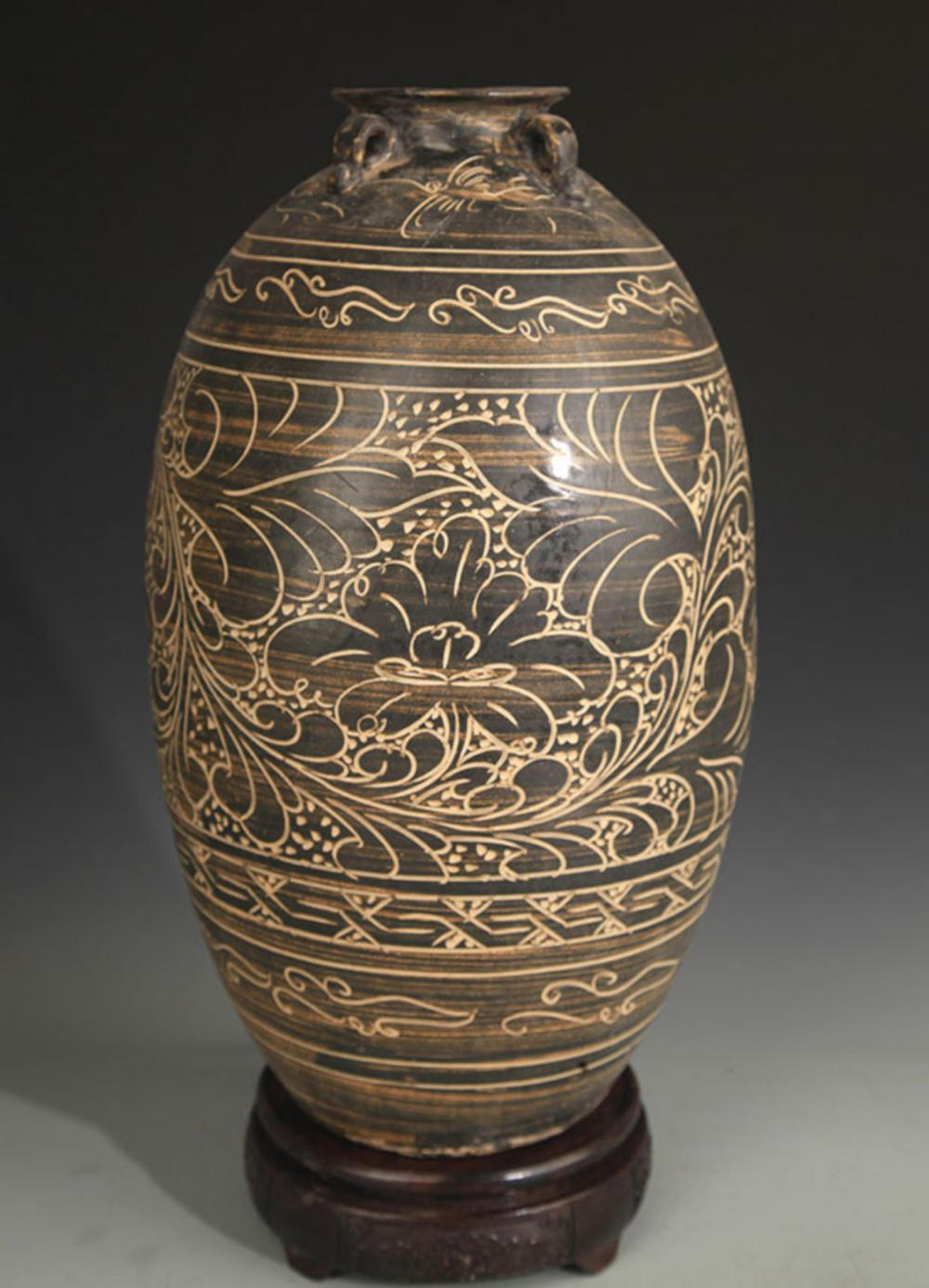 CI ZHOU KILN FLOWER PATTERN FOUR TILES VASE
