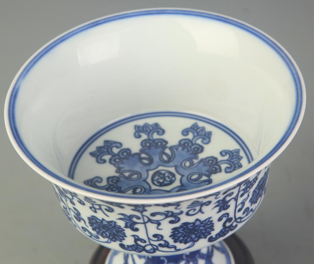 RARE BLUE AND WHITE FLOWER PATTERN HIGH FOOT CUP