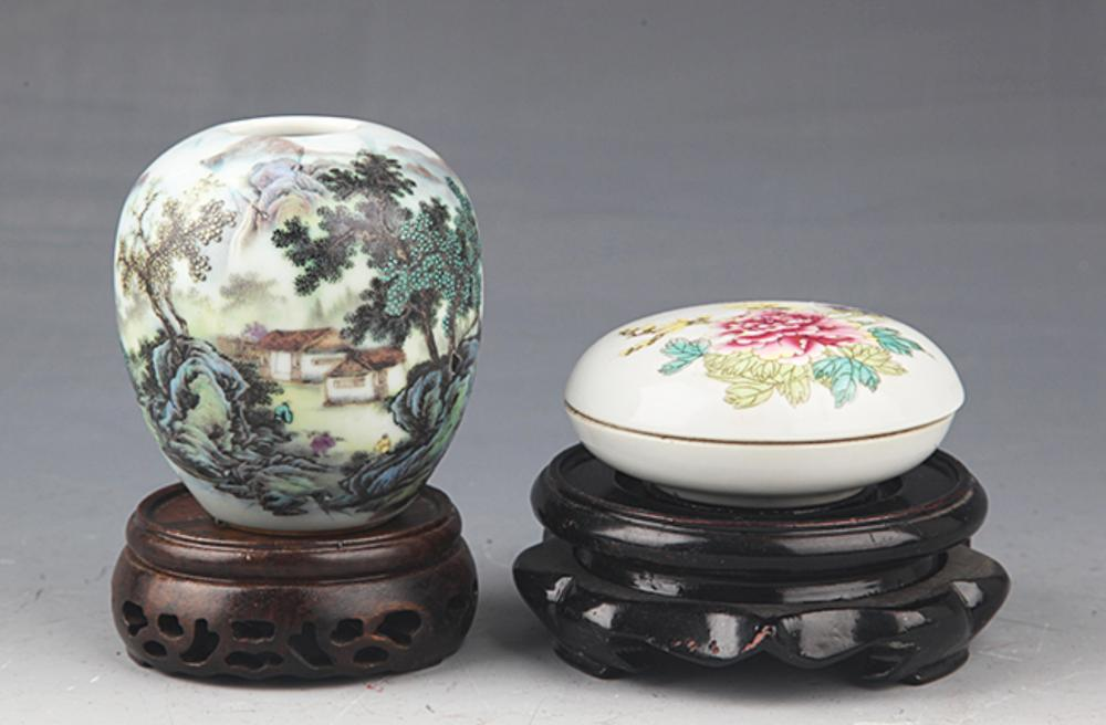 GROUP OF TWO FINELY PAINTED PORCELAIN JAR