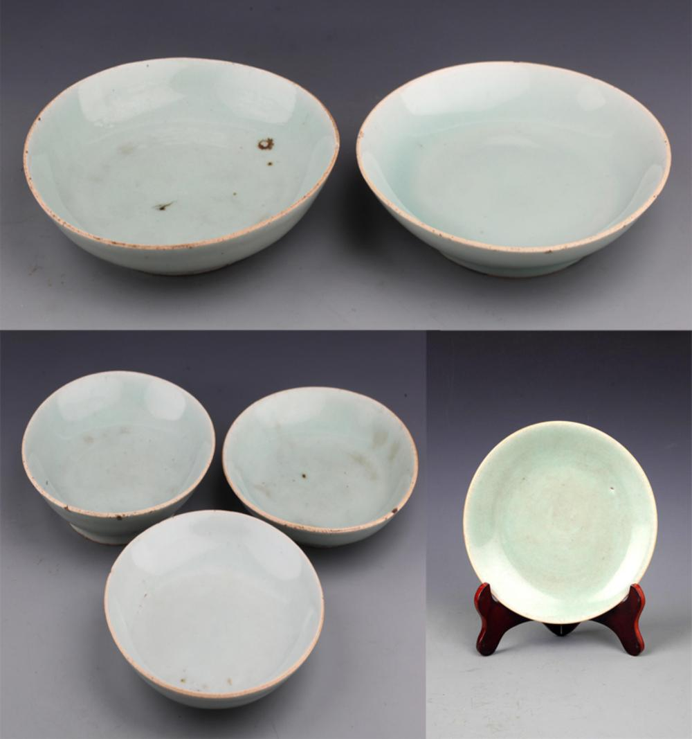 GROUP OF BLUE COLOR GLAZED PORCELAIN PLATE