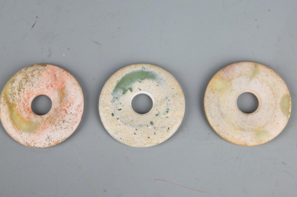 GROUP OF THREE OLD ROUND JADE