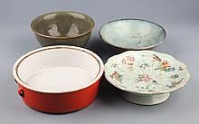 A GROUP OF FOUR COLORED PORCELAIN PLATE