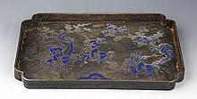 A FINELY STORY INKED BRONZE FRUIT PLATE