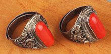 A PAIR OF CORAL RINGS