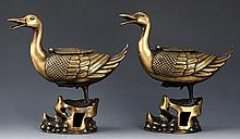 A PAIR OF GOOSE LIKE BRONZE AROMATHERAPY