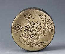 A ROUND STORYING CARVING BRONZE INK BOX