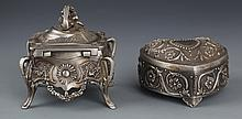 A PAIR OF FINELY CARVED MAKE UP BOXES