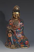 A FINELY CLOISONNÉ ENAMEL BRONZE BUDDHA