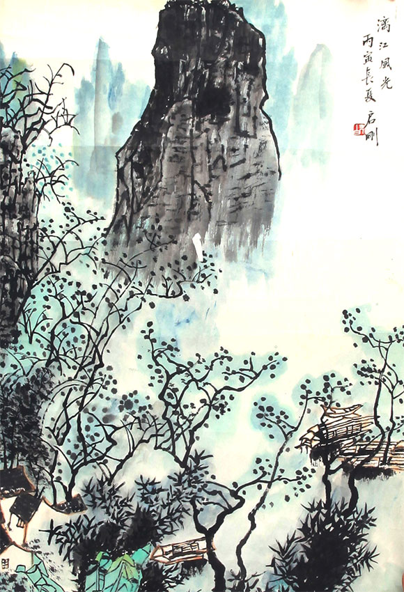 A BAI QI GANG CHINESE PAINTING (ATTRIBUTED TO )