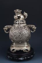 A VERY DETAILED CARVED SILVER PLATED AROMATHERAPY