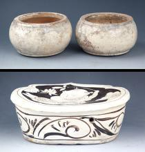 GROUP OF TWO PORCELAIN JAR AND PORCELAIN PILLOW