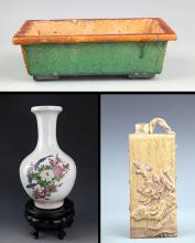 GROUP OF THREE FINELY MADE PORCELAIN DECORATION