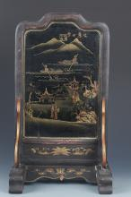 A PAINTED WOODEN CHINESE LACQUER TABLE SCREEN
