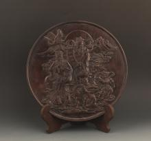 A GOD OF WEALTH CARVING XIAO YE ZI TAN PLATE
