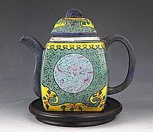 A COLORED YIXING ZISHA TEAPOT BY DAN RAN ZHAI