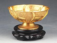 A RARE GILT BRONZE FINELY CARVED BOWL
