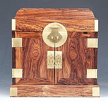 A FINE HUALI TABLE-TOP CHEST