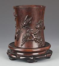 A FINE EMBOSSED CARVING REDWOOD BRUSH POT