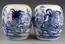 A PAIR OF FINELY PAINTED BLUE AND WHITE JAR