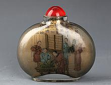A FINELY STORY PAINTED GLASS SNUFF BOTTLE