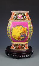 A FINE ENAMEL COLOR FLOWER AND BIRD PAINTED JAR