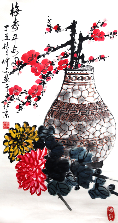 A FINE CHINESE PAINTING ATTRIBUTED TO, LIU ZHONG WEN (ATTRIBUTED TO 1944-)