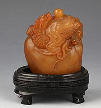 A DETAIL AND FINELY SHOU SHAN STONE CARVING WITH DARGON