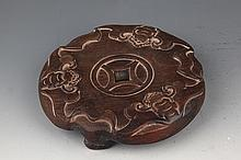A FINELY CARVED ROSEWOOD CENSER STAND